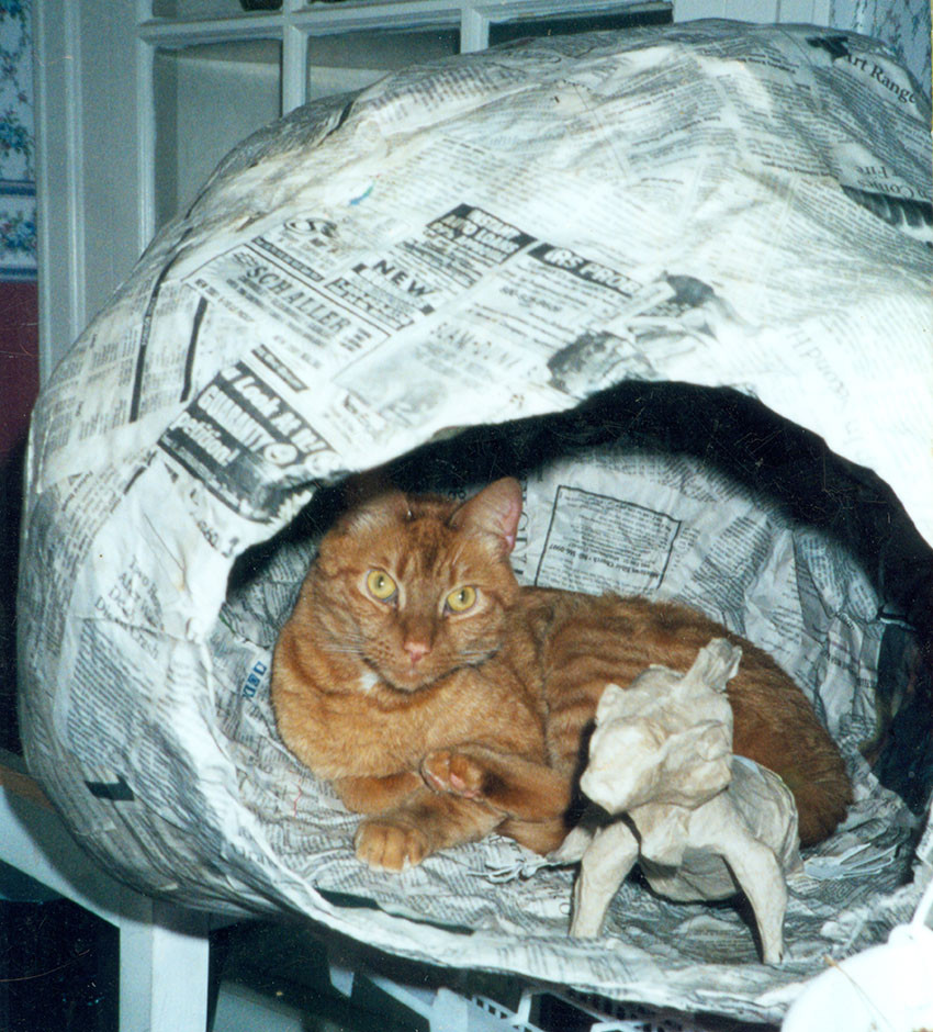Randolph resting next to the Plumed basilisk in the papier-mache egg.
