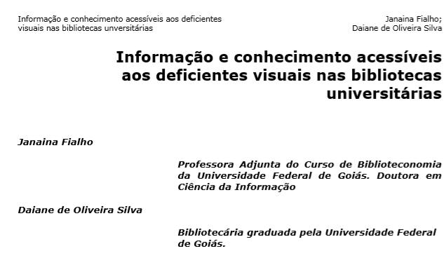 Informação e conhecimento acessíveis aos deficientes visuais nas bibliotecas