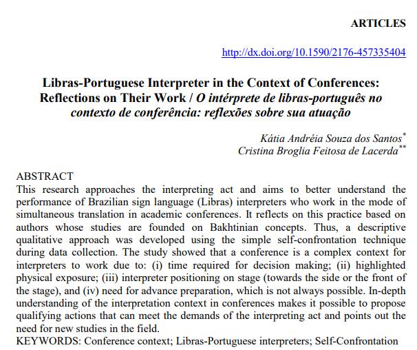 O intérprete de libras-português no contexto de conferência: reflexões sobre sua atuação