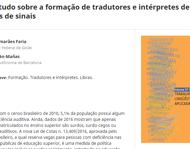 Um estudo sobre a formação de tradutores e intérpretes de línguas de sinais