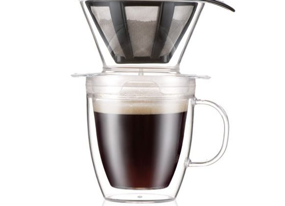 BODUM POUR OVER Coffee Dripper and double wall mug, 0.35 l, 12 oz