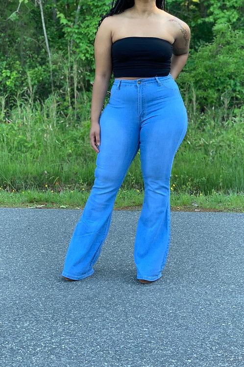 High-waisted Flare Leg Jeans