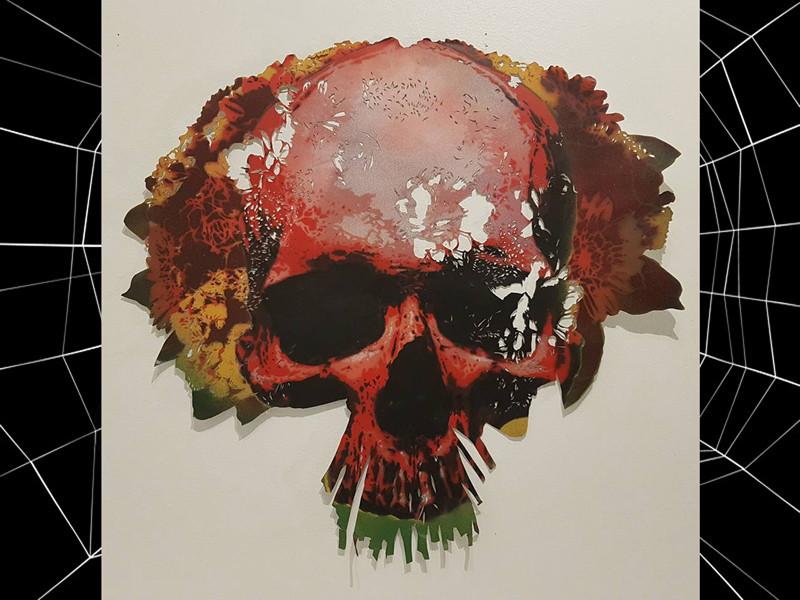 skull on flower
