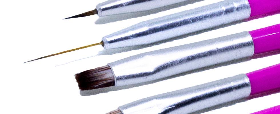 Kit 6 Pincéis Unha para Decoração Nail Art, Arte Sedução