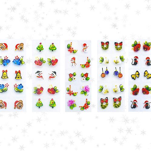 Kit 50 Adesivos de Unhas Natal Arte Sedução, 100% Artesanal