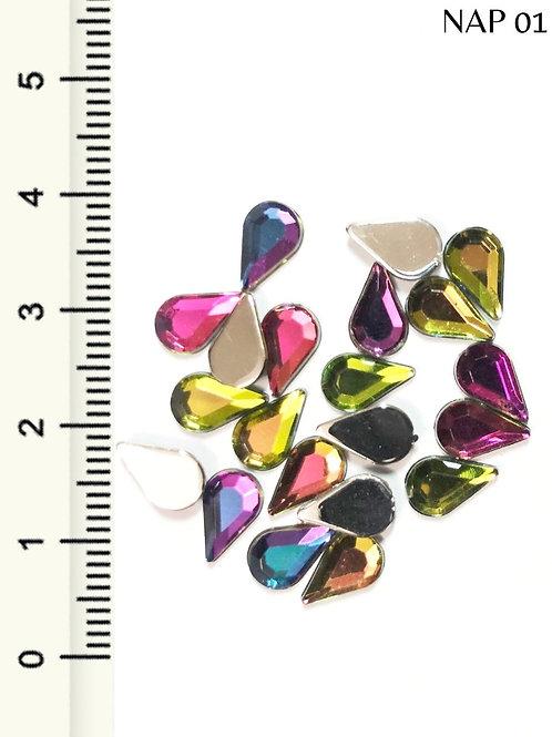 Pedraria Gota Sextavado Colorido 7mm, Arte Sedução, 1g