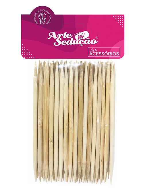 Palito Bambu 2 Pontas, Grosso, Arte Sedução, 50 unidades.