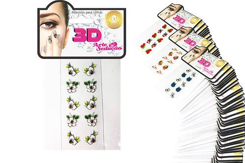 Kit 1.500 Adesivos de Unha 3D, Arte Sedução.