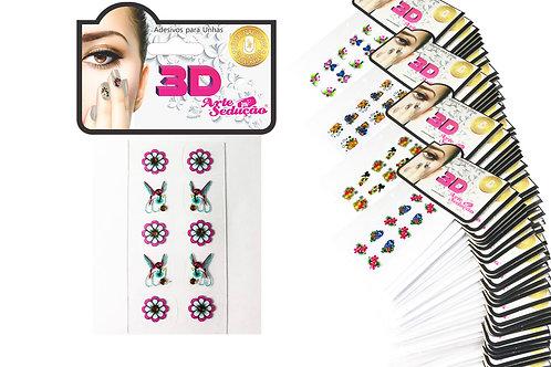 Kit 2.000 Adesivos de Unha 3D, Arte Sedução.