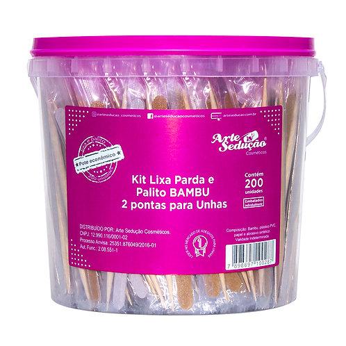 Kit Lixa e Palito Bambu 2 Pontas para Unhas, 200 unidades