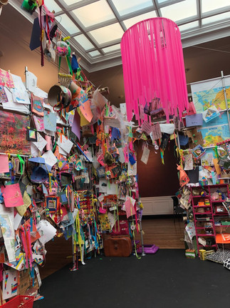 Space gets filled with layers and layers of welcoming messages and artwork!