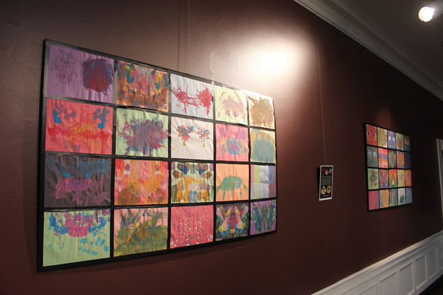 Artwork from the school workshops is on display in the space