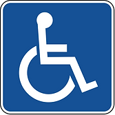 Thumbnail of wheelchair access symbol which depicts a white stick figure sitting in a wheelchair against a blue background.