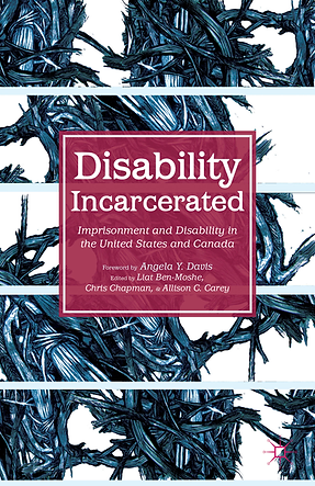 "Book cover of Disability Incarcerated by Liat Ben-Moshe. This cover shows an abstract blue, black, and white drawing that depicts interlocking thorns and branches. The title ""Disability Incarcerated: Imprisonment and Disability in the United States and Canada"" is in white text overlaying a maroon square."