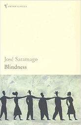 "Thumbnail image of the cover of Infusing Disability in the Curriculum: The Case of Saramago's ""Blindness."" Bottom of image shows a graphic of line of people walking single file with their hands on each other's shoulders."
