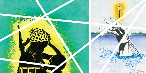 Image of side by side graphic artworks. The artwork on the left side of the image shows a Black woman holding a child with a rifle strapped to her side. She is drawn in black and yellow and is placed in front of a green background. The artwork on the right side of the image depicts a drawing of a hand reaching up for a key glowing with a golden aura. Across the entire image is a series of intersecting white lines in a geometric pattern.