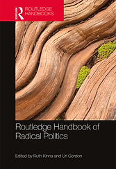 Thumbnail of Routledge Handbook of Radical Politics book cover. Cover has a black background with an image on top that showcases a close-up of tree bark.