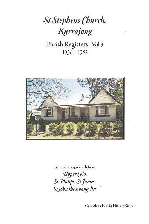 St. Stephens Church Parish Register Vol. 3 1937-1962 by Colo Shire Family Hist.
