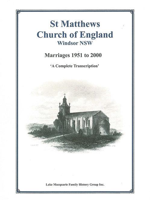 St Matthews Church of England Windsor Marriages 1951-2000 Volume 4 Part 1