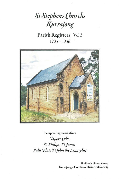 St. Stephens Church Parish Register Vol. 2 1903-1936 by Colo Shire Family Hist.