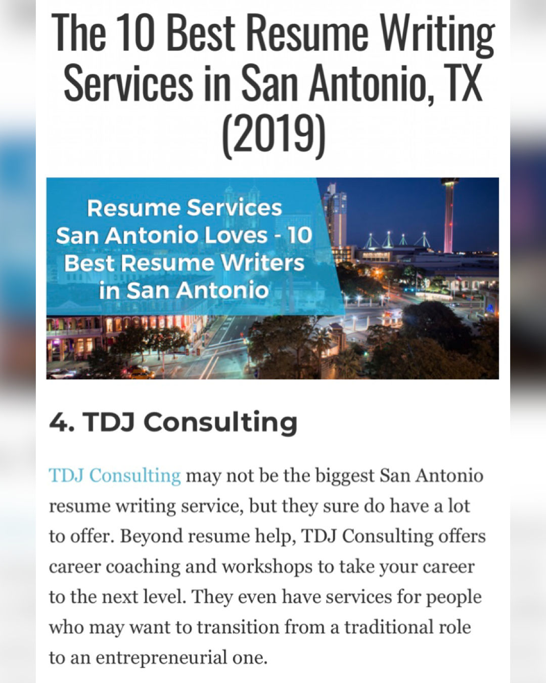 Tdj Consulting Named 4 In Top 10 Resume Writing Services In San