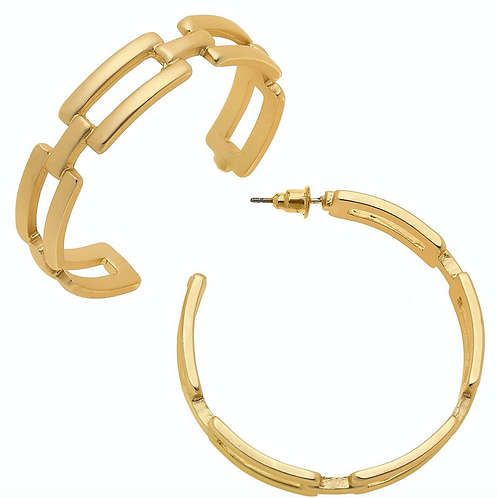 dith Frozen Chain Link Hoop Earrings in Matte Gold