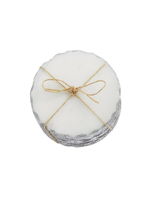 Silver Rimmed Marble Coaster