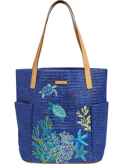 North South Straw Tote Classic Navy