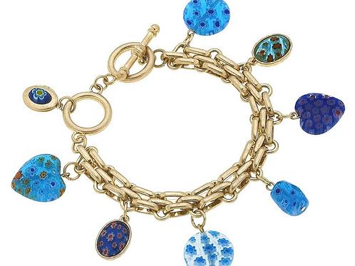 Millefiori Glass T-Bar Charm Bracelet in Blue & White