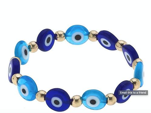 Murano Glass Evil Eye Talisman Stretch Bracelet in Blue & White