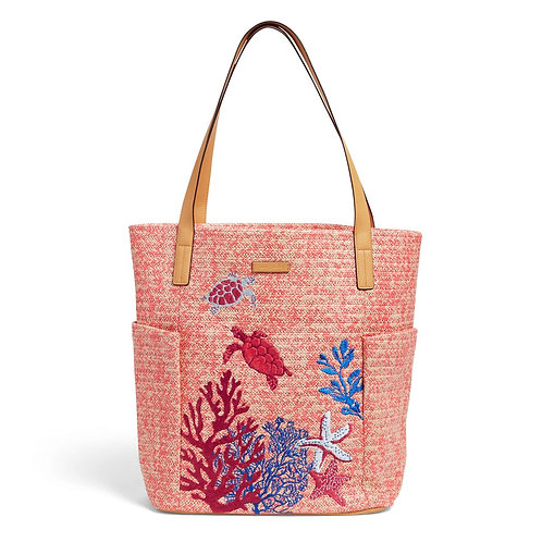 North South Straw Beach Tote Scarlet Coral