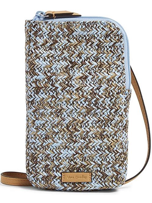 Vera Bradley Straw Cellphone Crossbody - Mint Brown Sea Life