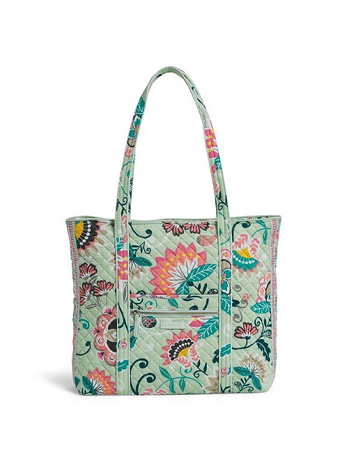 Iconic Vera Tote Mint Flowers