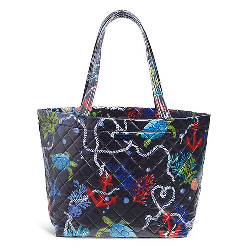 Quilted Beach Tote Spring Tide Navy