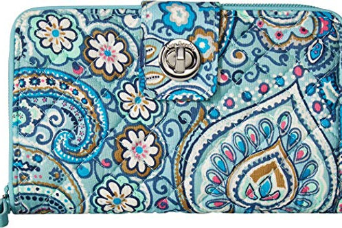 Iconic RFID Turnlock Wallet Daisy Dot Paisley