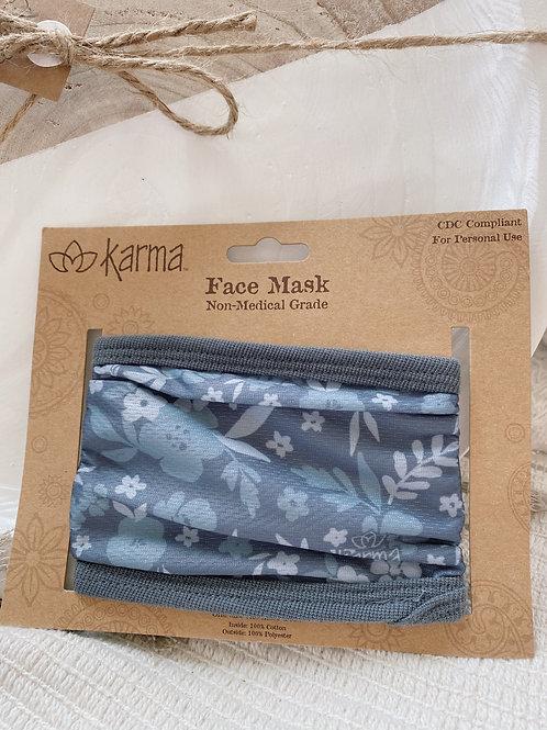 Dark Grey Floral Mask