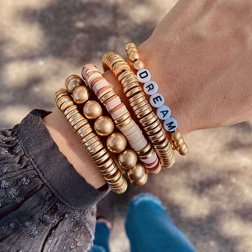 Eleanor Beaded Pearl Stretch Bracelet in Worn Gold