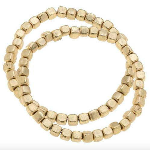 Berkley Metal Plated Bead Bracelets in Worn Gold (Set of 2)