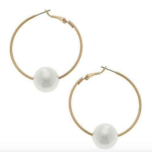 Lizzie Threaded Pearl Hoop Earrings in Ivory