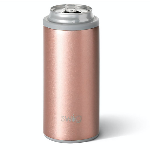 Shimmer Rose Gold Skinny Can Cooler (12oz)