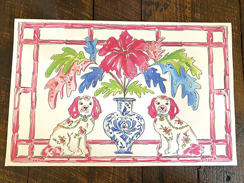Handpainted Pink Dog Paper placemat (20pk)