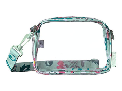 Clearly Colorful Stadium Crossbody Mint Flowers