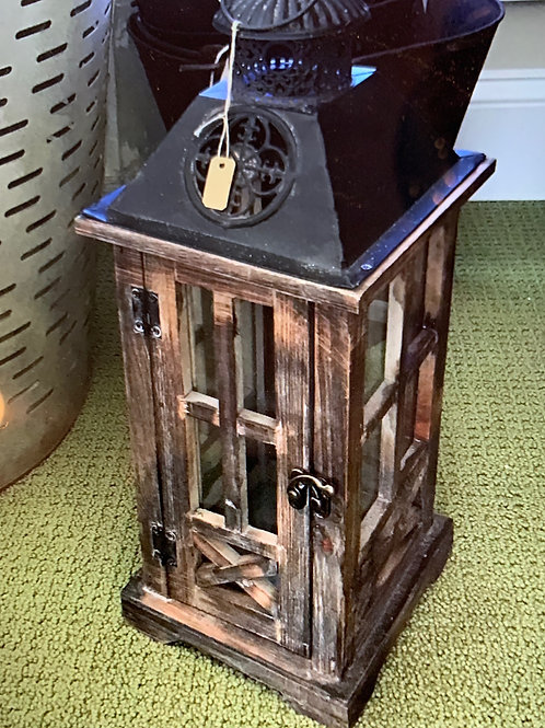 Wooden Distressed Lantern