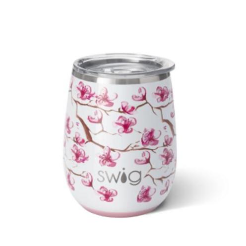 Cherry Blossom Blush Stemless Wine Cup (14oz)