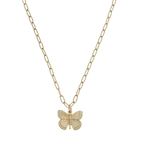 Celeste Butterfly Charm Necklace in Worn Gold