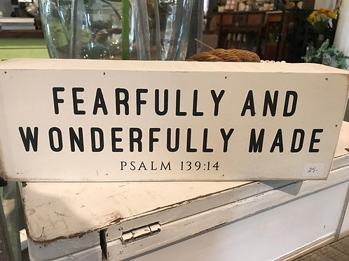 Small Wooden Sign- Psalm 139:14