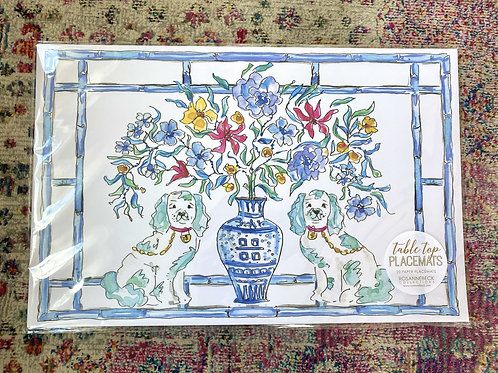 Handpainted Blue Dog Paperplacemats (20pk)
