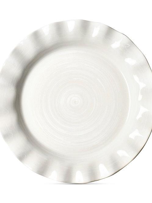 Coton Colors Signature Ruffle White Dinner Plate
