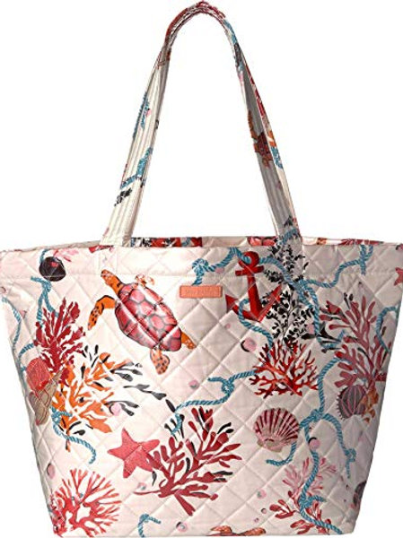 Quilted Beach Tote Spring Tide Coral