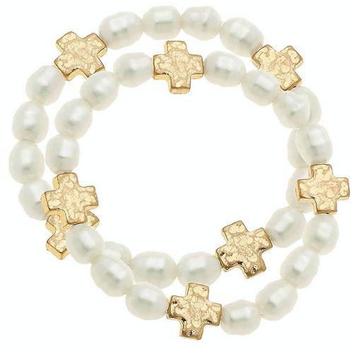 Sarah Cross Bracelets In Ivory Pearl